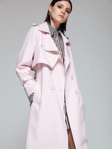 TRUGIRL楚阁2017新款浅粉色大衣