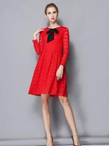 依路佑妮红色蕾丝裙