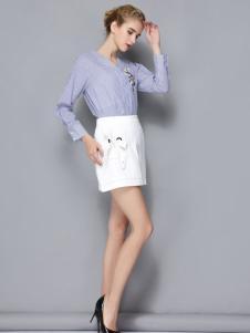 依路佑妮女装蓝色衬衫