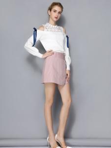 依路佑妮女装粉色半裙17新款