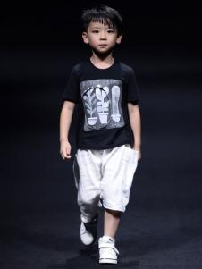 NNE&KIKI童装男童黑色印花T恤