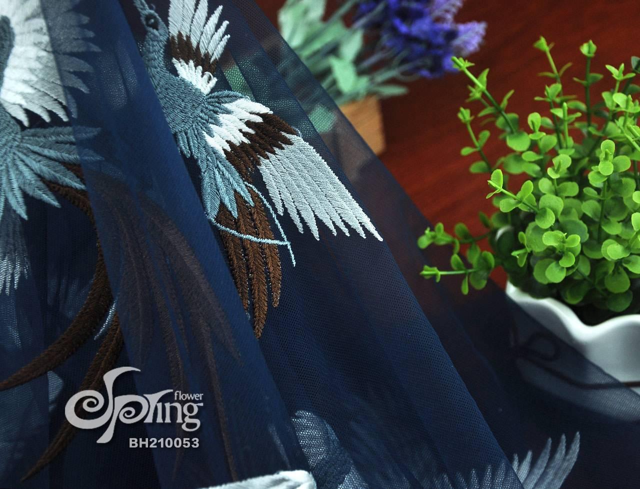鸟雀图网布刺绣面料 刺绣花边厂家直供 百华科技
