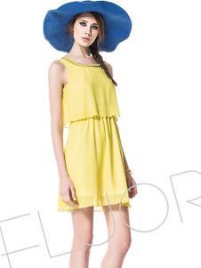 諾可顏新款無袖連衣裙