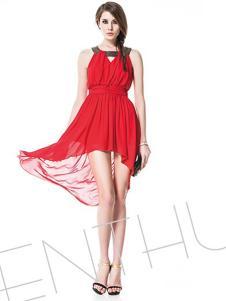 诺可颜新款红色礼服式连衣裙