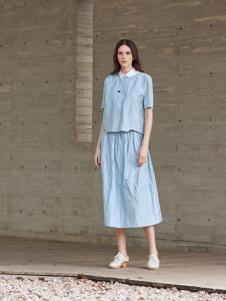 唯简尚蓝色唯美棉麻裙子套装
