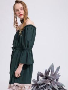 西蔻女装2017款一字肩连衣裙