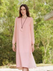 唯简尚粉色唯美棉麻连衣裙17新款