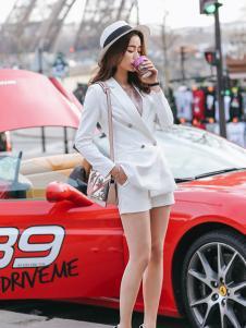 千姿惠女装2017新款白色短裤