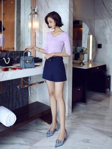 千姿惠女装2017新款浅紫色T恤