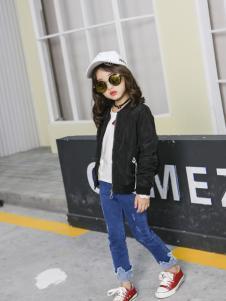 淘淘猫新款女童黑色外套