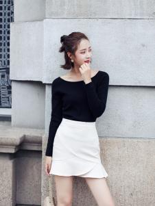 千姿惠女装2017秋冬新款白色半裙