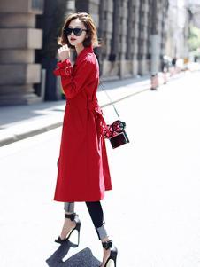 千姿惠女装2017新款红色大衣