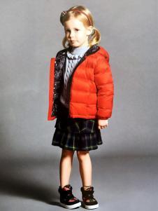 DISHiON的纯秋冬新款橙红色羽绒服