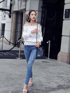 千姿惠女装2017新款一字肩T恤