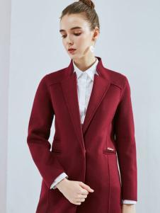 丹佛蒂欧女装2017深红色大衣