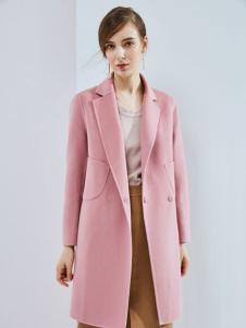 丹佛蒂欧女装2017粉色大衣