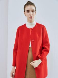丹佛蒂欧女装2017大红呢大衣
