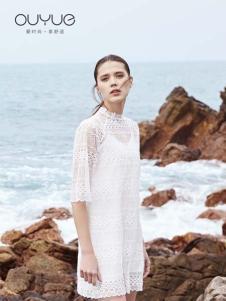 Ouyue欧玥春夏新款白色蕾丝裙