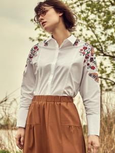 丽芮女装刺绣印花衬衫17新款