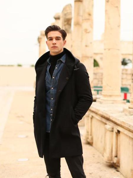 爱迪丹顿2017新款黑色连帽大衣