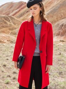 衣佰芬女装红色大衣