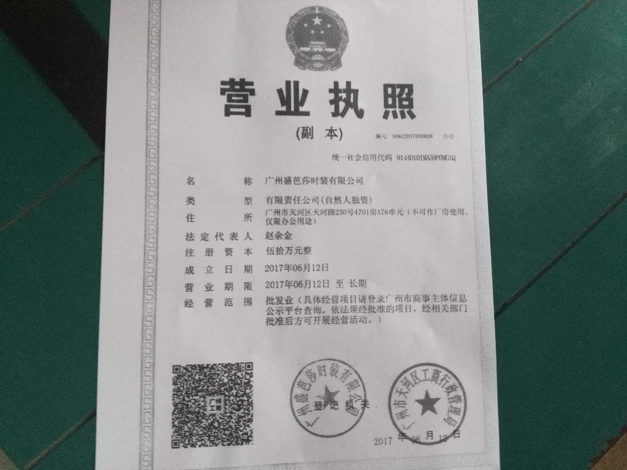 广州盛芭莎时装有限公司企业档案