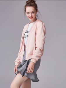 夺宝奇兵女装粉色休闲外套