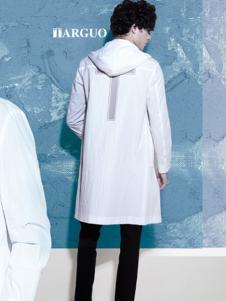 它钴男装2017年秋冬中长款白色外套