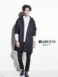 它钴男装2017年秋冬新品黑色风衣