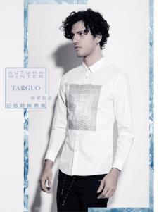 它钴男装2017年秋冬新品白色衬衫