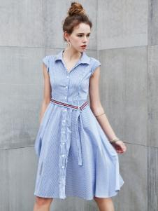 艾诺绮新款无袖连衣裙