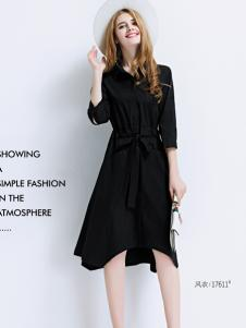 艾米女装不规则小黑裙