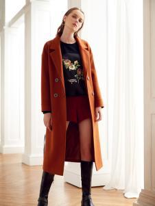 莎斯莱思女装秋冬新款棕色大衣