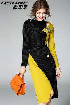 黑色加黄色针织