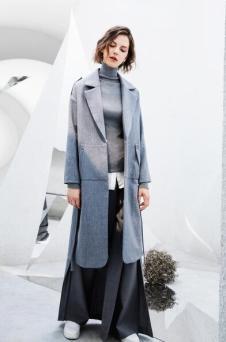 AMII2017秋冬新品轻奢极简系列灰色风衣