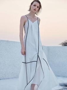 AMII2017春夏新品轻奢极简系列几何连衣裙