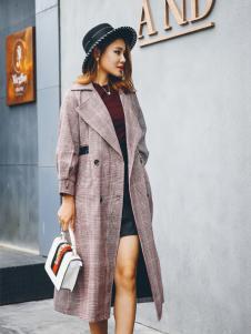 酷芭芭秋冬新款浅紫色大衣