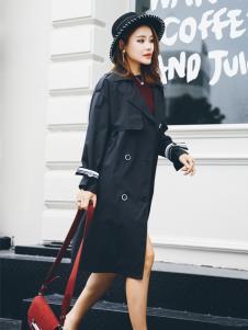酷芭芭秋冬新款黑色风衣