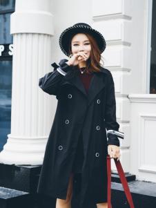 酷芭芭秋冬新款黑色大衣