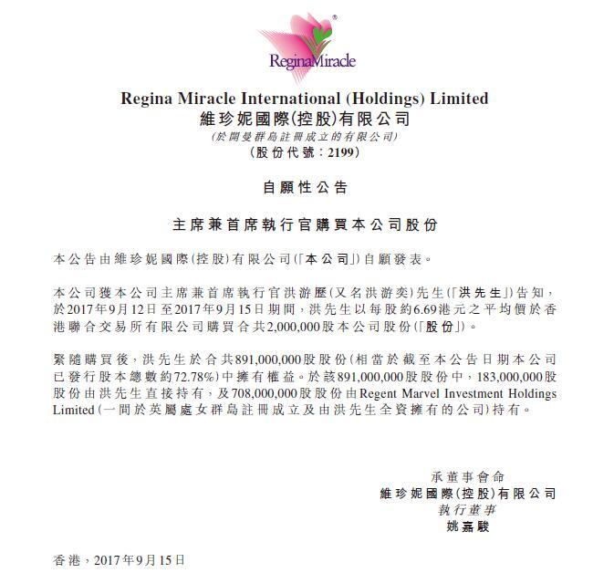 维珍妮获主席兼首席执行官洪游历增持200万股