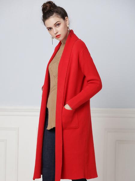 彤欣格2017秋冬新款红色大衣