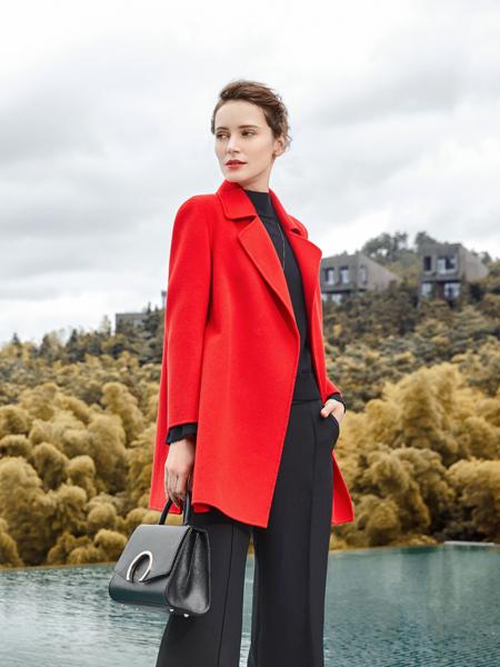尚约女装2017年秋冬新款红色大衣