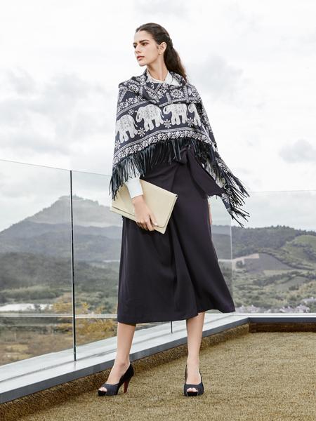尚约女装2017年秋冬新款黑色连衣裙
