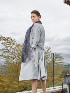 尚约女装2017年秋冬新款银色大衣