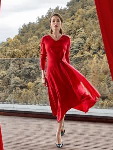 尚约女装2017年秋冬新款红色连衣裙