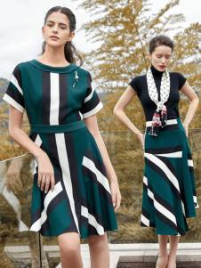 尚约女装2017年秋冬新款撞色拼接连衣裙