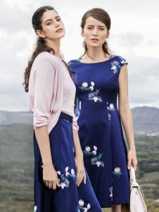 尚约女装2017年秋冬新款印花连衣裙