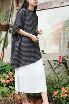 味道MOCI HIPAA木子衣芭女装森女系代言人布衣类设计师品牌不规则条纹连衣裙