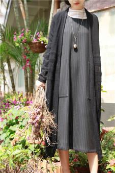 味道MOCI HIPAA木子衣芭女装森女系代言人布衣类设计师品牌竖条纹连衣裙
