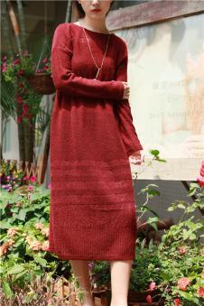 木子衣芭女装森女布衣类设计师品牌针织连衣裙
